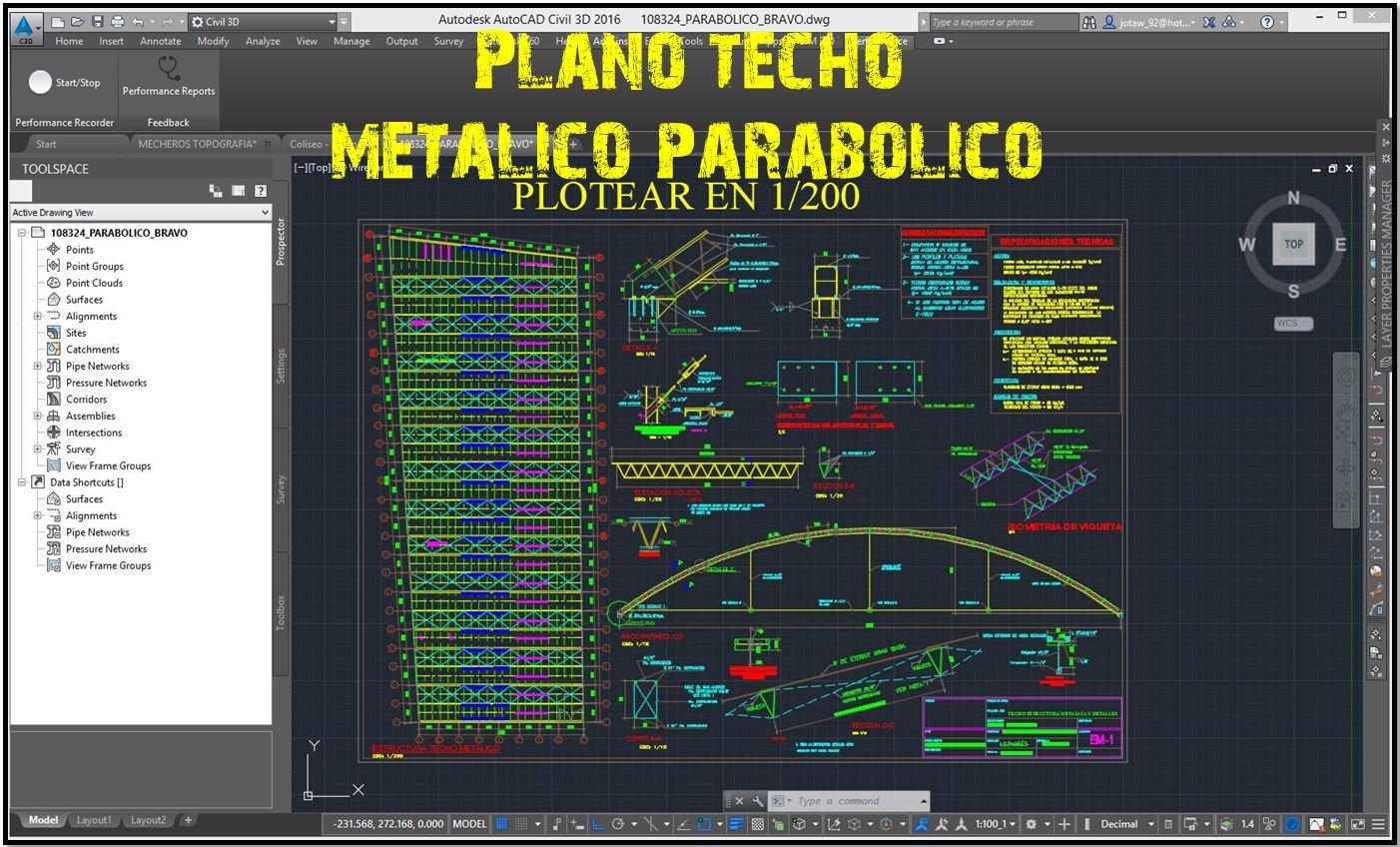 Plano Techo Metálico Parabólico Autocad Civil21