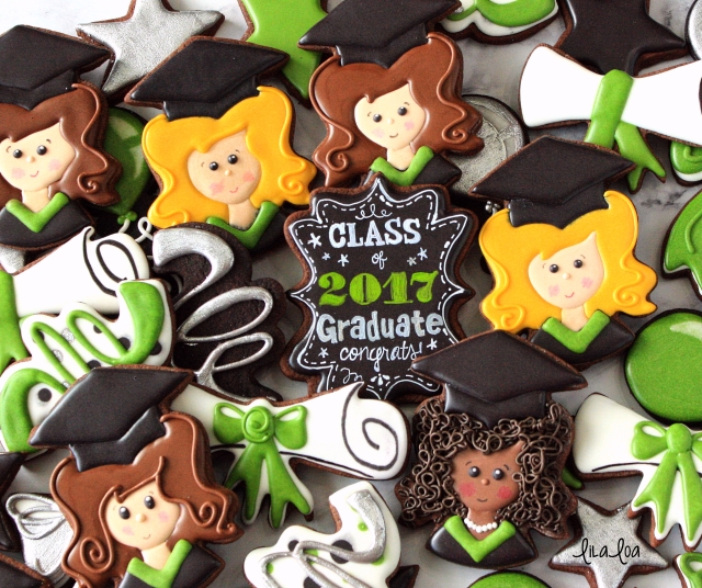 Girl graduation sugar cookies -- a cookie decorating tutorial