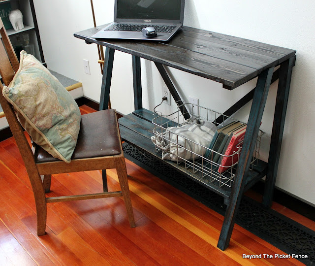 bottom shelf on rustic farmhouse table adds storage