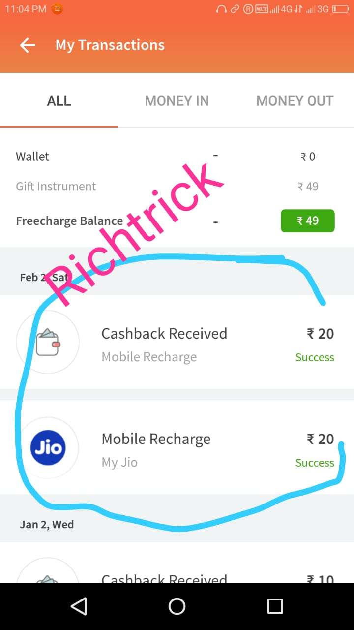 100% cashback upto 20RS on mobile recharge in Freecharge