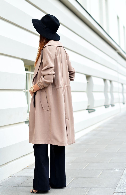 jesienny plaszcz | plaszcz na jesien 2015 | kapelusz czarny | czarne szerokie spodnie | ombre na wlosach | sombre