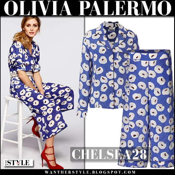 Olivia Palermo in blue floral print shirt and matching blue floral print pants Chelsea28 summer outfit inspiration