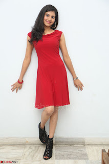 Mounika Telugu Actress in Red Sleeveless Dress Black Boots Spicy Pics 034.JPG