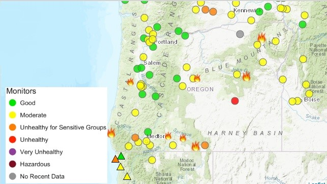Northern California Fire Map 2018.Oregon Smoke Information