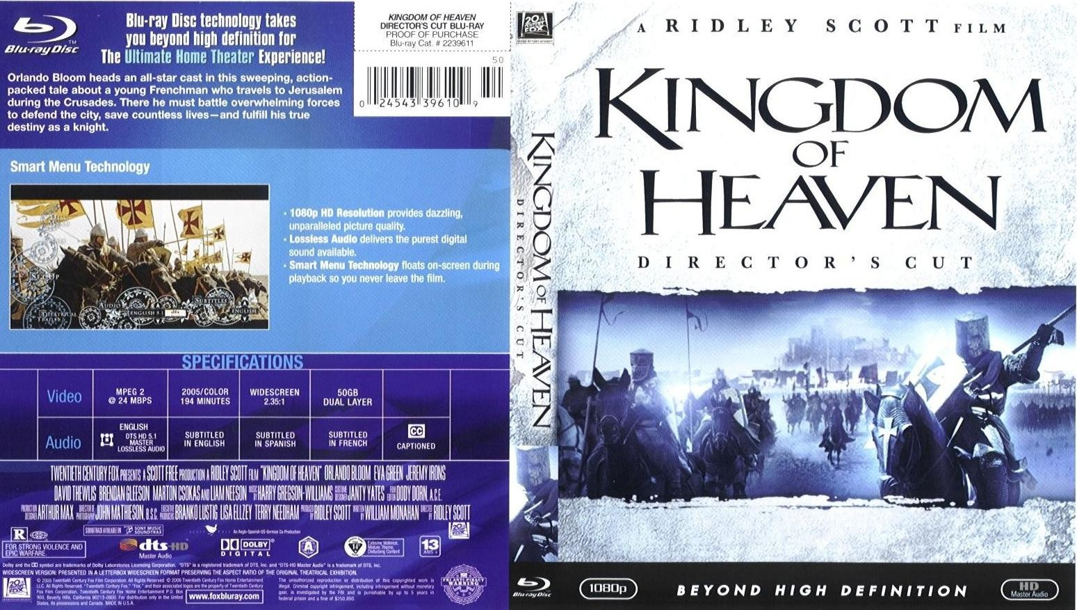 It is an image of Superb Kingdom of Heaven Dvd Label