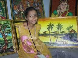 Krishnan Ramalingam Augustine Swapna Mouth And Foot Artist From Kerala
