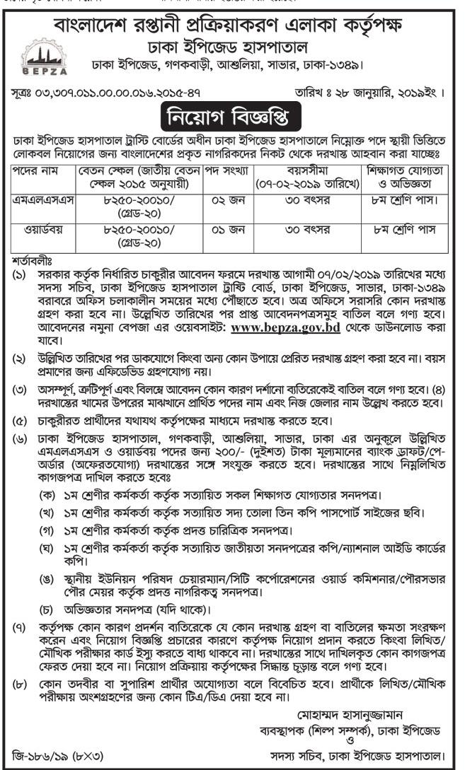 Dhaka EPZ Medical Job Circular 2019