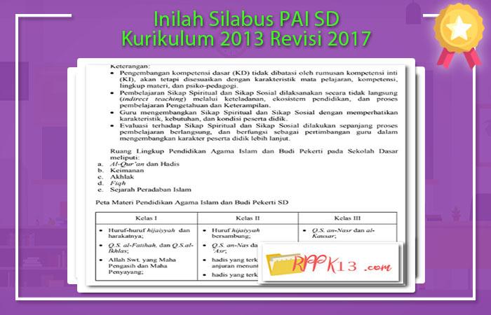 Inilah Silabus Pai Sd Kurikulum 2013 Revisi 2017 Rpp K13