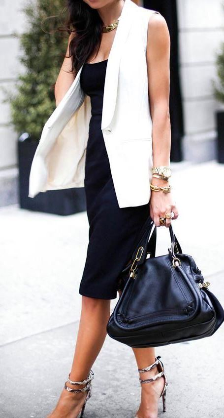 trendy office outfit idea with a white vest