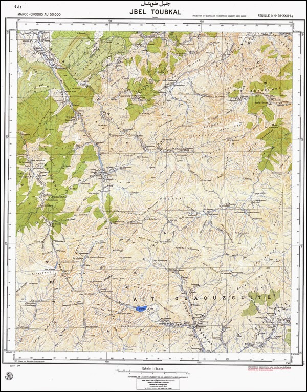 Carte du Jebel Toubkal au 1 / 50 000