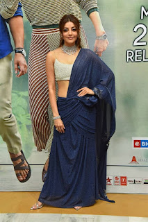 Kajal Agarwal In Blue Lehenga Choli At Sita Movie Pre Release (8)