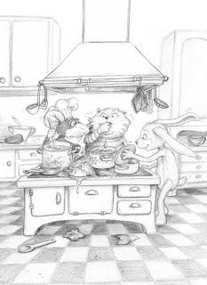 Kinderbuchillustration, Küche, Koch, Tiere, Kater