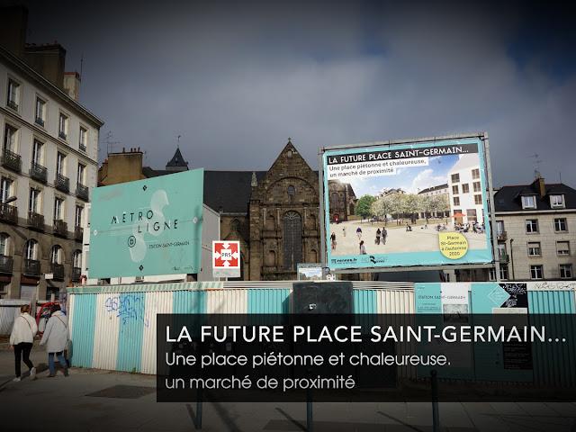 Le nouveau panneau promotionnel posé du côté du Quai Chateaubriand... et qui malheureusement masque l'Église Saint-Germain...