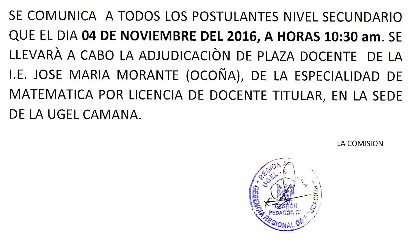 Adjudicaci n de plazas de reasignaci n docente 2016 tipo 1 for Plazas de docentes 2016