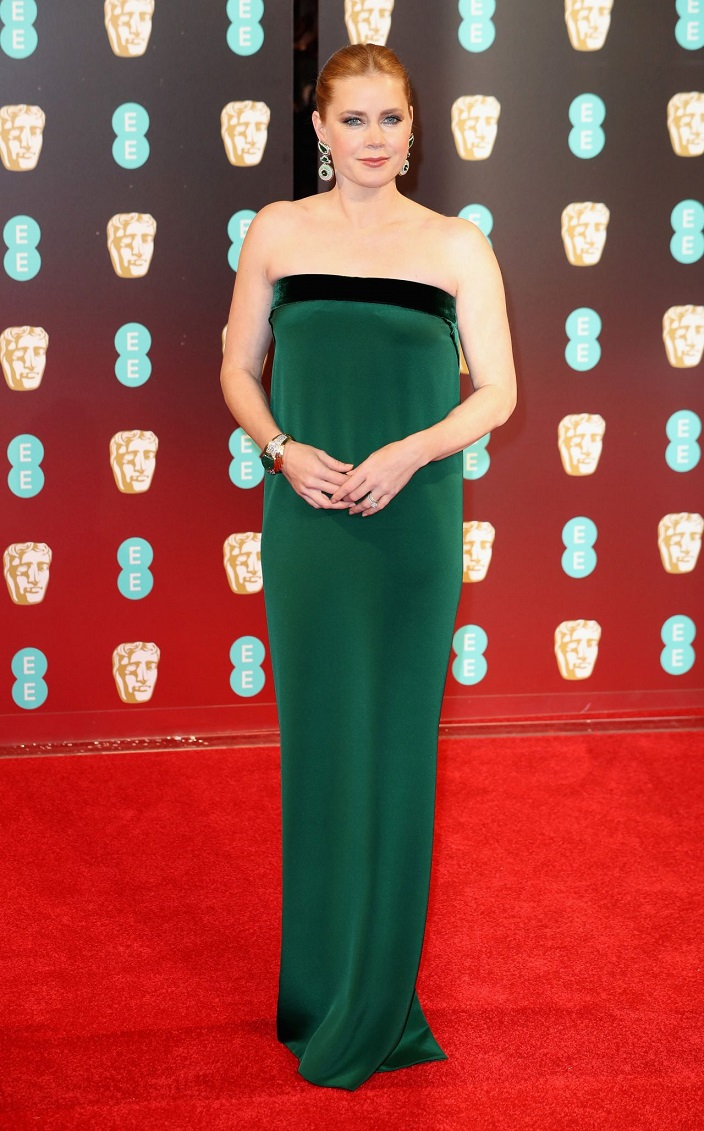 Amy Adams flaunts strapless emerald gown to the 2017 BAFTAs