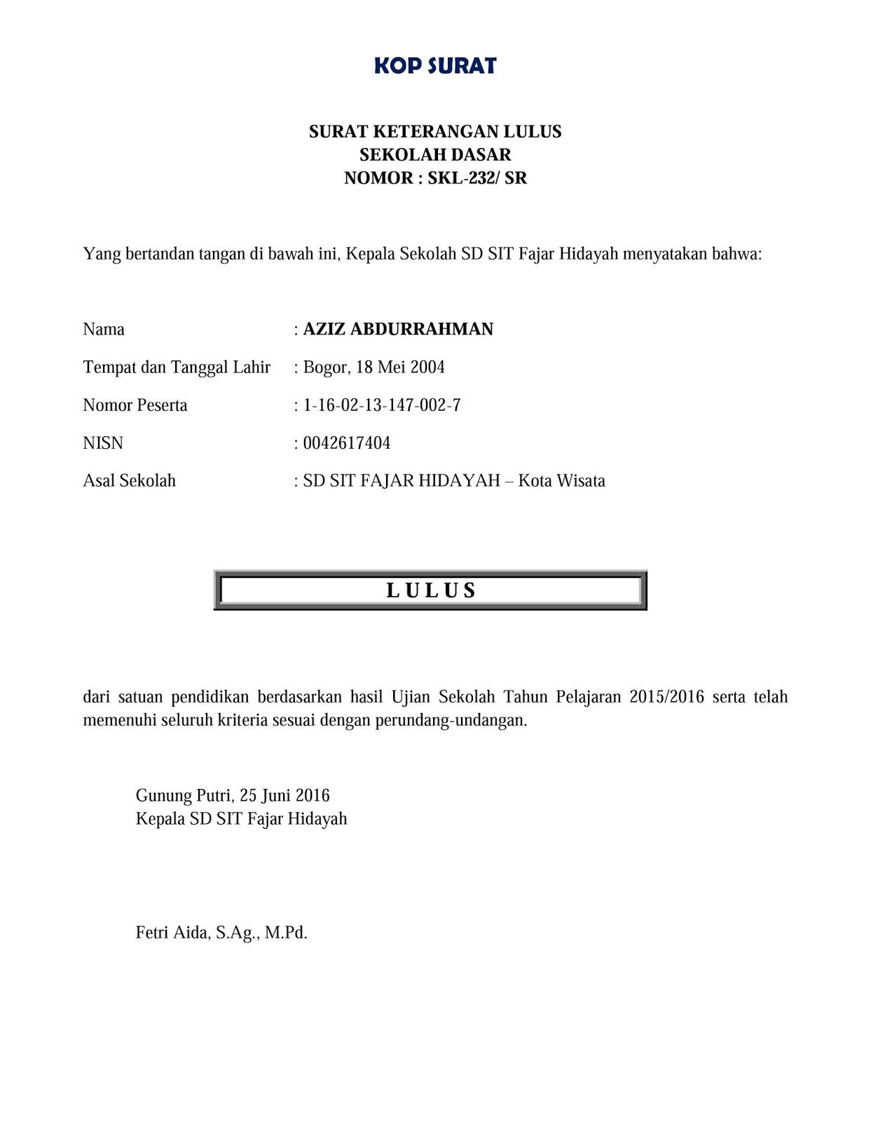 Contoh Surat Keterangan Lulus Sekolah Dasar Sd Folder Contoh Surat