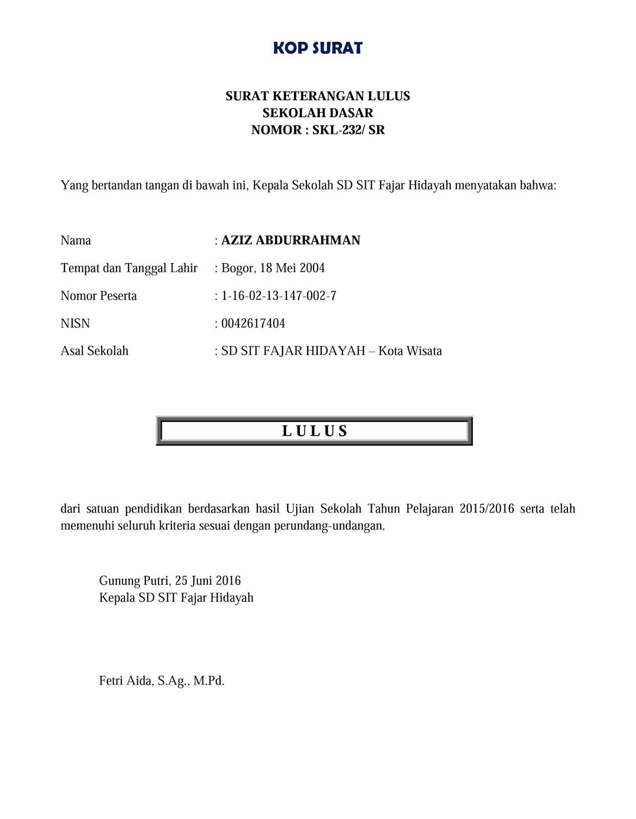 Contoh Surat Keterangan Lulus Sekolah Dasar Sd Folder