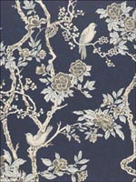 Wallpaper Hanging Project: Powder Room in American Wallpaper Ralph Lauren, collection Archival English Papers, Articles LWP30570W LWP30570W, Marlowe Floral, Prussian Blue, Ralph Lauren Wallpapers