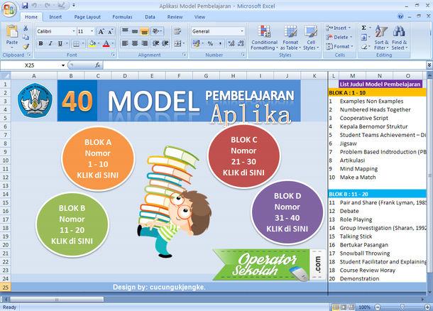 Aplikasi Model Pembelajaran Format Microsoft Excel