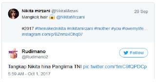 Bantah Hina Panglima TNI, Nikita Mirzani : Gue enggak Tahu Pak Gatot