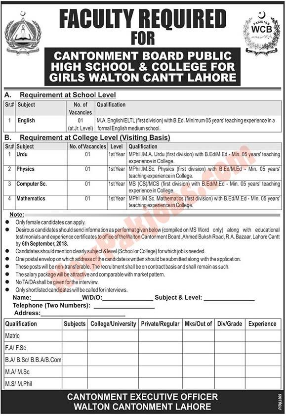 Government Jobs In Cantonment Board Public Girls School & College Government Jobs In Cantonment Board Public Girls School & College