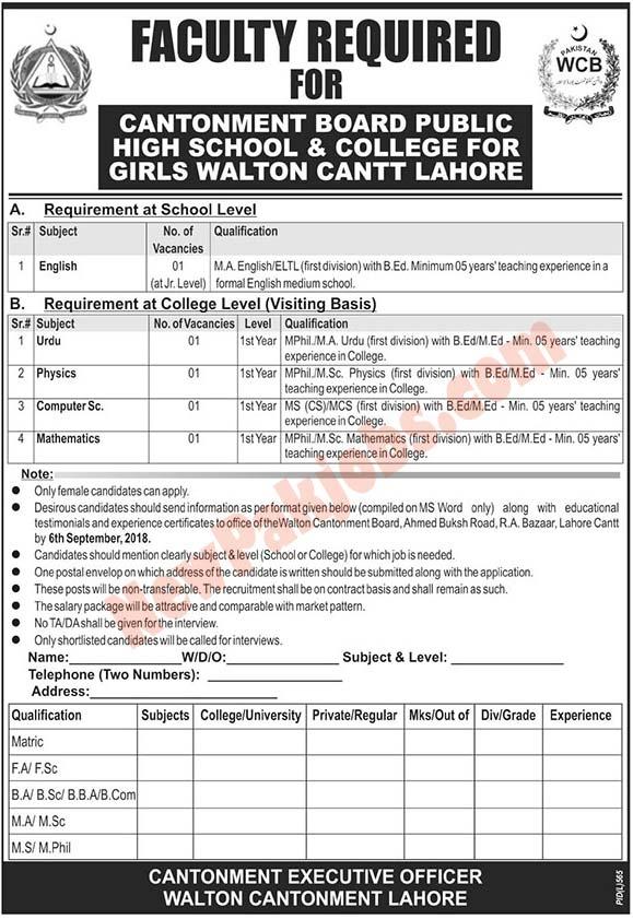 Government Jobs In Cantonment Board Public Girls School & College Government Jobs In Cantonment Board Public Girls School & College