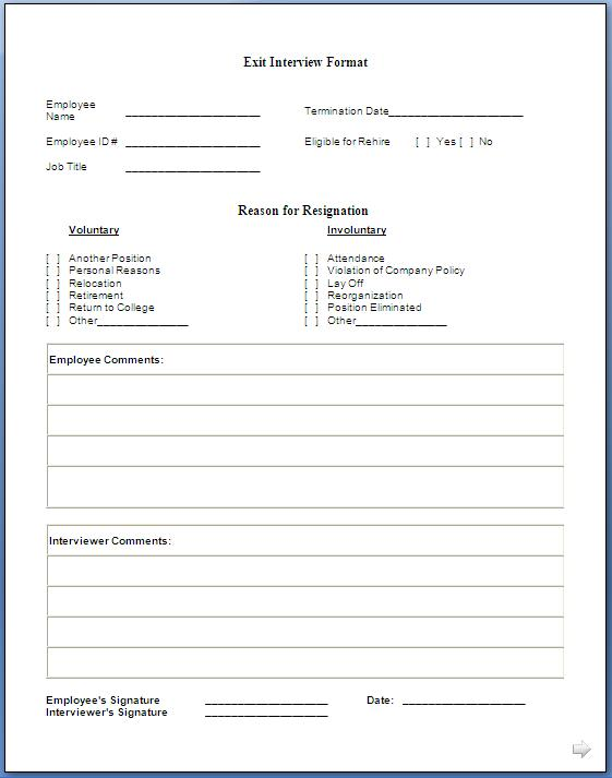click here for exit interview form format in doc pdf