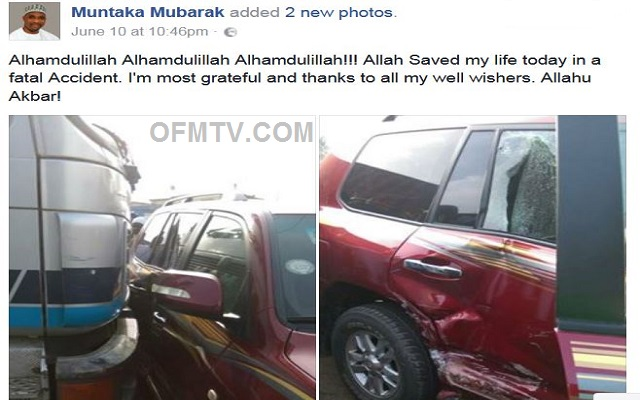 Muntaka Mubarak involved in accident
