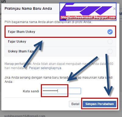 cara mengubah nama akun facebook dengan nama baru di komputer