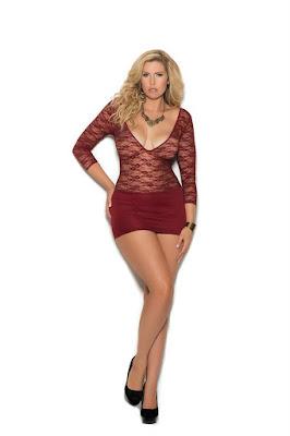 Deep V lace and lycra mini dress-Plus