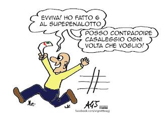 M5s, Casaleggio, Grillo, Sanzioni, multa, superenalotto, vignetta satira
