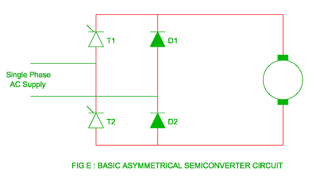 basic asymmetrical semiconverter circuit