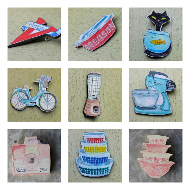 retro novelty pyrex and vintage kitchen brooches from Wacky Tuna on etsy