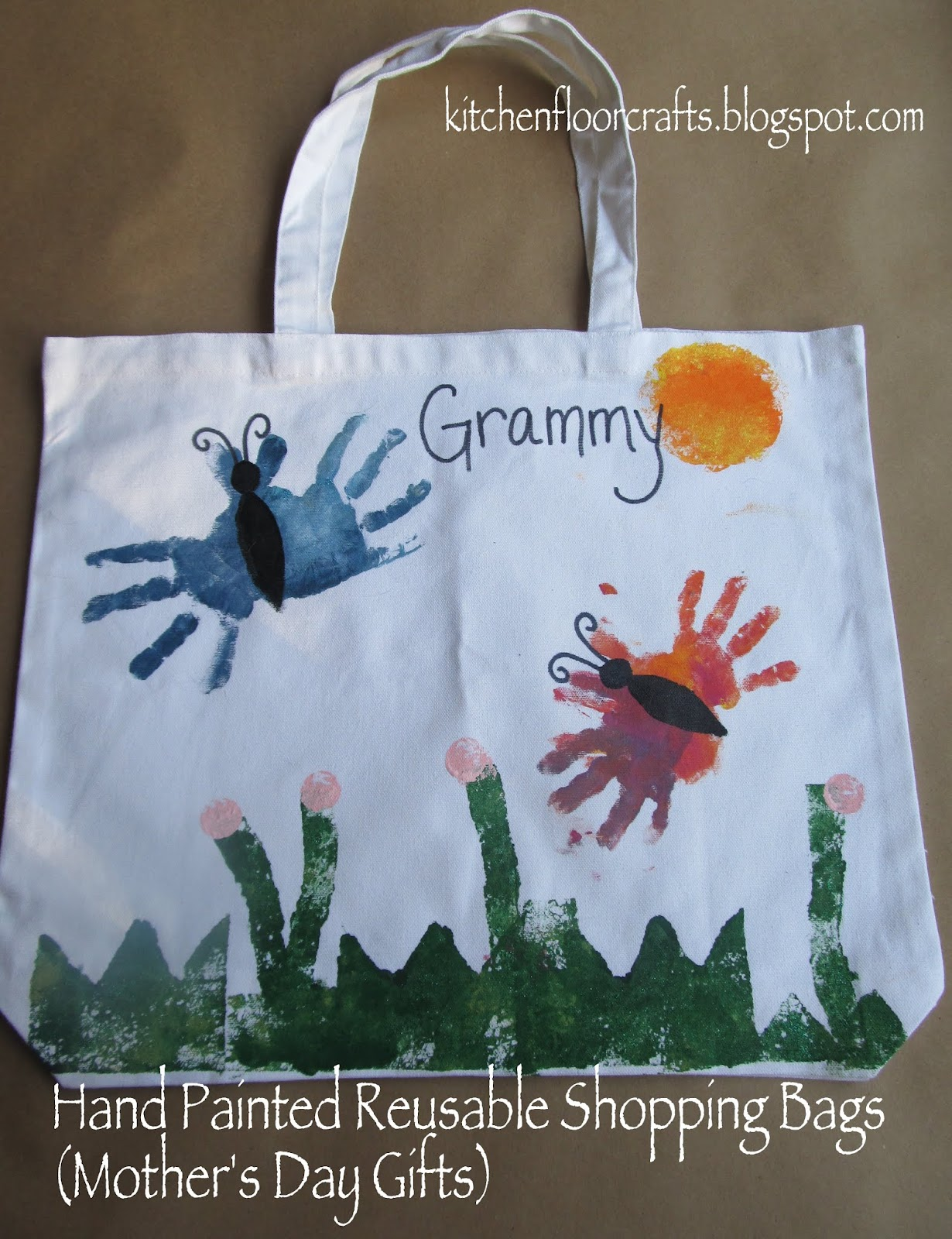 Kitchen Floor Crafts Hand Painted Reusable Shopping Bags