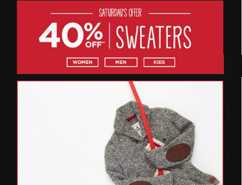 Roots Black Friday 40% off Sweaters + 30% Off Entire Order