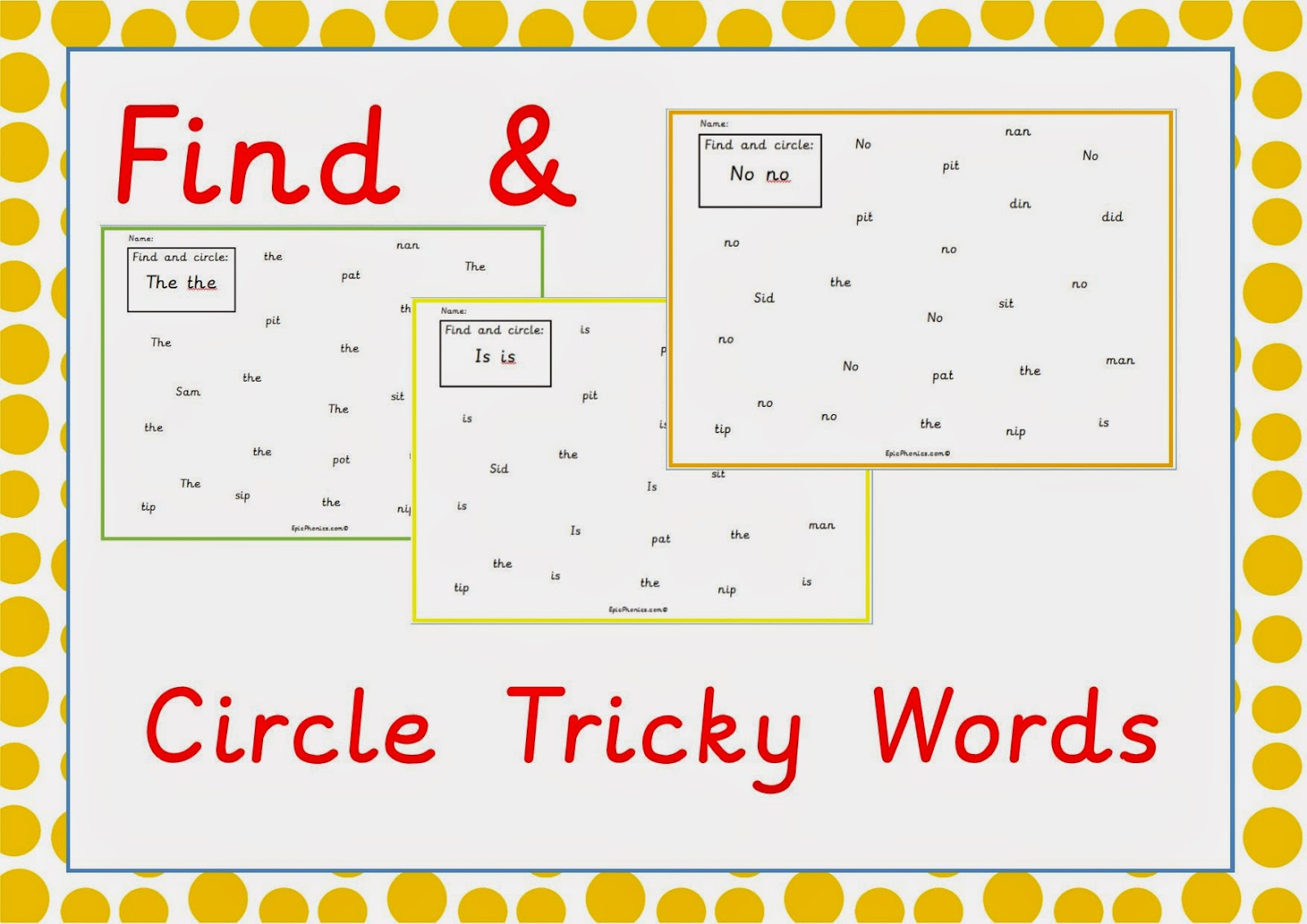 Simply Kids Learning Phonics Tricky Words Printable Activity