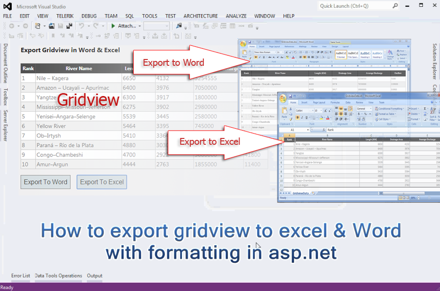 How to export gridview to excel & Word file with formatting