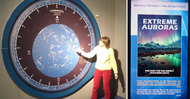 "Wall-sized Planisphere at The Planetarium at the Science Centre of Northern Norway currently showing ""Extreme Auroras"".  Photo by Muir Evenden."