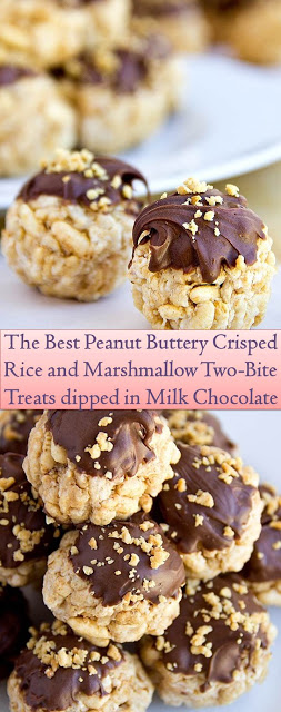 Peanut Buttery Crisped Rice and Marshmallow Two-bite Threated in Deep Milk Chocolate #Peanut #Marshmallow #Butter #Crisped #Two-Bite #Sweets