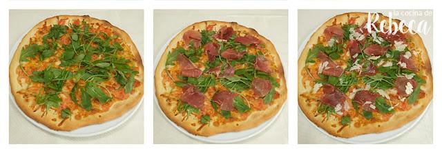 Receta de pizza de jamón, rúcula y parmesano 03