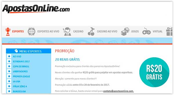 Promoção na Apostas Online: R$20 Grátis para Apostar