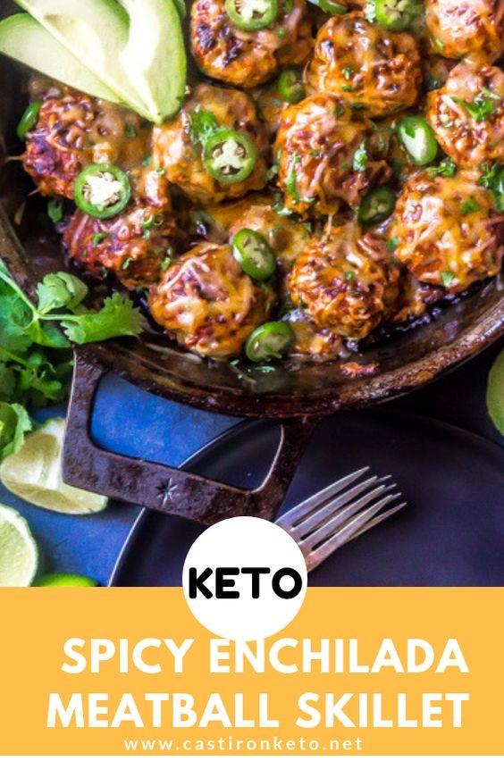Keto Enchilada Meatball Skillet