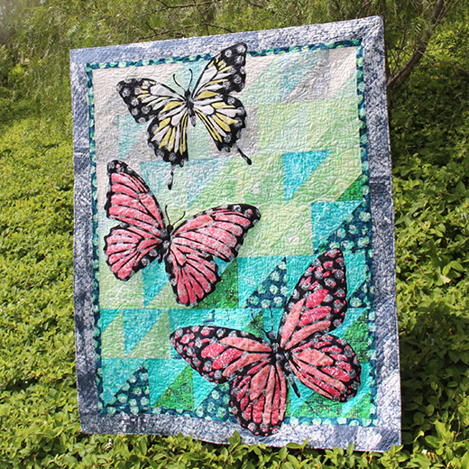 Mariposa Quilt Designed by Flaurie & Finch, featuring Blossom Batiks Sakura, The Pattern By RJR Fabrics