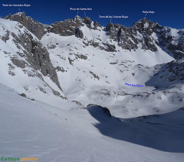 Ruta invernal circular a la Torre del Hoyo Oscuro desde el Cable bajando por los Tornos de Liordes hasta Fuente De. Picos de Europa