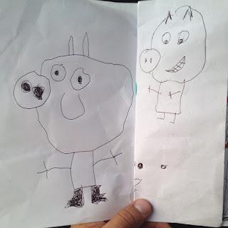 Peppa Pig Dibujada por Sophia sin colores
