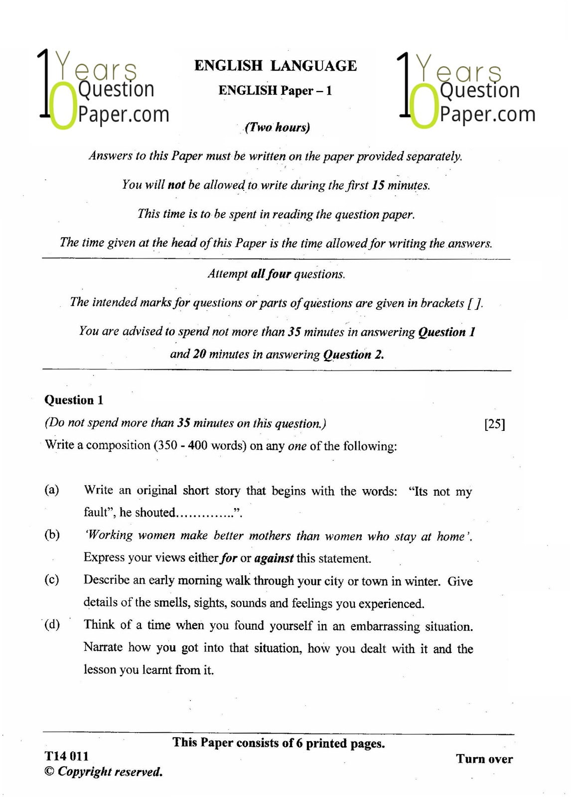 Icse class 10th English Language solved question paper 2014