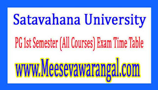 Satavahana University PG 1st Semester (All Courses) Exam Time Table