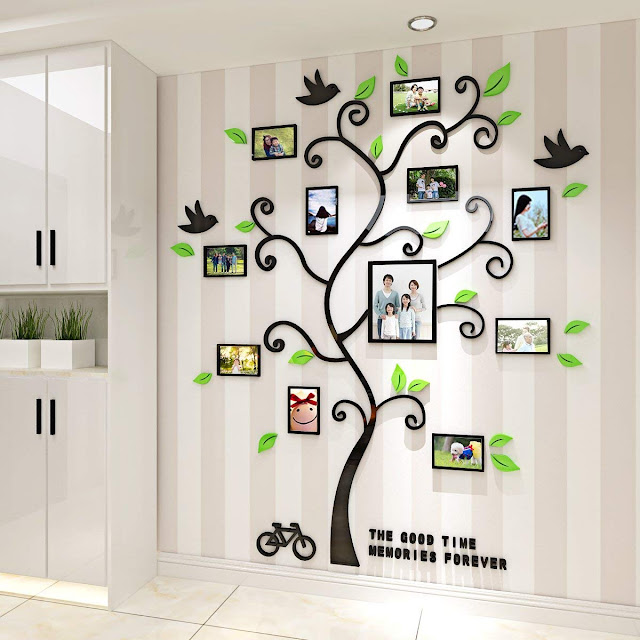 Alicemall Tree Wall Stickers Family Hope Tree of Life Black 3D Wall Decals Photo Frame