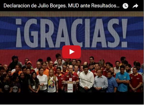 Julio Borges declarando el triunfo del pueblo