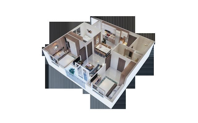 Thiết kế căn hộ 3PN diện tích 69m2-77m2